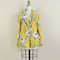 NEW Cleobella Floral Canary Yellow Blazer Women's Size Small S Notched Collar