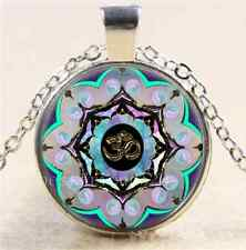Om Moon Mandala  Photo Cabochon Glass Tibet Silver Chain Pendant Necklace