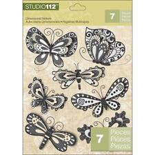 K&COMPANY STUDIO 112 BUTTERFLIES - BLACK WHITE DIMENSIONAL 3D SCRAPBOOK STICKERS