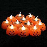 12Pcs Halloween Led Flameless Candle Pumpkin Light Decoration Lantern Lights New