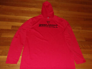 UNDER ARMOUR BASEBALL LONG SLEEVE LIGHTWEIGHT RED FITTED HOODIE MENS 2XL EXC.