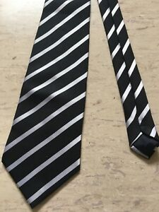 "Unbranded Mens black/white striped smart polyester tie 3.8"" wide 57"" long"