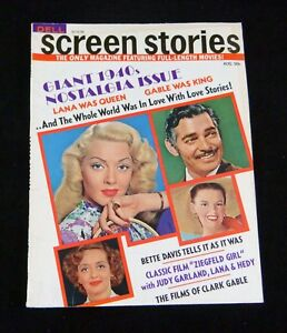 Dell SCREEN STORIES 1940s Nostalgia Issue August 1971 Hollywood Celebrity Stars
