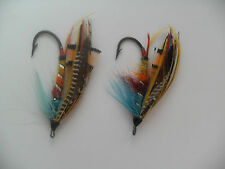 2 x Benchill Sizes 4/0 & 2/0 Fully Dressed Vintage Gut Eye Salmon Flies 1900-15