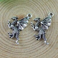 40pcs Antique Silver Alloy Dragon Pendants Jewellery Findings 20x15mm 51536
