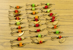 27 Salmon Egg Spinners - Brass Beads, Blades - Red Green Orange - New Old Stock
