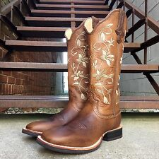 Twisted X WOMEN'S Floreale Ruff Punta Quadrata STOCK Cowgirl Stivali WRS0025
