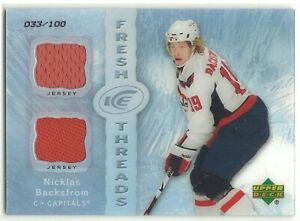 2007-08 UD Ice Fresh Threads Parallel NICKLAS BACKSTROM DUAL ROOKIE JERSEY /100