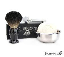 Afeitado Luxury Double Edge seguridad Razor Set Con Pure tejón brocha de afeitar Jabón
