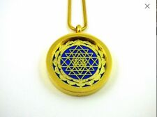 Gold Shree Yantra and Om Aromatherapy Double Sided Necklace