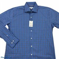 Peter Millar Crown Comfort Mens Button Front Shirt Blue Plaid Long Sleeve L New