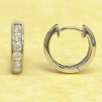 Sterling Silver Cubic Zirconia Channel Set Huggies Huggy Hoop Earrings 15x3mm