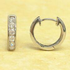 Sterling Silver Cubic Zirconia Channel Set Huggies Huggy Hoop Earrings 15x3mm