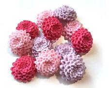 12 Edible Sugar Fuchsia, Pink & Lilac Chrysanthemums Flower Cake Decorations