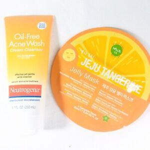 Neutrogena Oil-Free Acne Wash Cream Cleanser 6.70 oz & Jeju Tangerine Jelly Mask