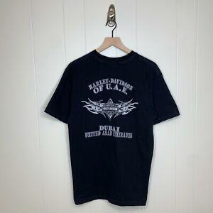 Harley Davidson UAE United ARab Emirates Logo Tee Shirt Black Mens Size Large
