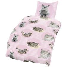 Katzen Bettwäsche 135x200 cm Cats grau rosa pink Microfaser B-Ware Set 2 teilig