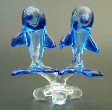 Glass DOLPHIN PORPOISE Blue Painted Glass Ornament Curio Glass Animal Figure