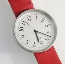 Alessi Women's Watch Silver Analog Dial Red Leather Strap AL6012