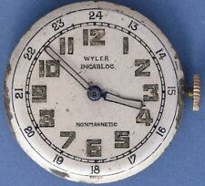 Wyler AS 1194 50s Vtg 17j Mvt 24 Hr Radium Dial Good Balance Staff Parts/Repairs