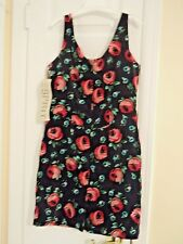 Esprit Women's Size 7-8 Black Sleeveless Dress w/ Multi-Color Floral Design  NEW