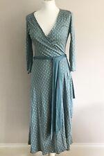 COAST Ladies Teal 100% Silk Wrap Dress DVF Style Size 10