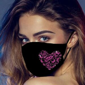 Washable Reusable Face Mask Covering Black Butterfly Heart Sexy Ladies Girl