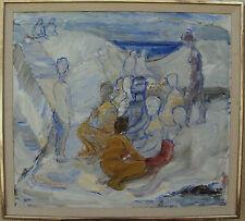 """Zage Johanson *1916, """"Rotes Badetuch und weiße Klippen"""", verso datiert 1965-66"""