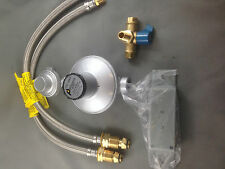 2 x LPG CYLINDERS  PIGTAIL HOSE 3 WAY CONNECTOR WITH VALVE GAS REGULATOR 250MJ