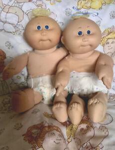 Cabbage Patch Kids Coleco Doll Preemie Twin Boy Girl BABY NEWBORN BLUE EYES