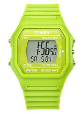 NEW-TIMEX GREEN TONE,GREEN SILICONE BAND,INDIGLO DIGITAL WATCH-T2N245