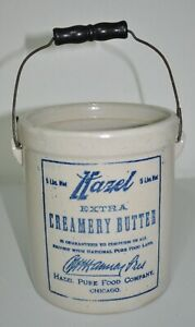 VINTAGE RED WING STONEWARE CROCK HAZEL BUTTER PAIL CHICAGO advertising