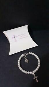 Confirmation Bracelet / White Pearl + Cross Charm + Gift Box