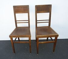 Pair Antique Plank Wood Accent CHAIRS Stamped NY Hart Furnishers EICHSTER