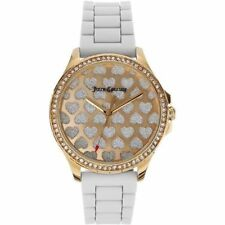 Juicy Couture 1901298 Gwen Silver Heart Dial White Silicone Band Lady's Watch