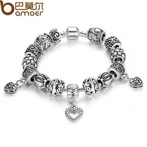 European Hearts Charms Bracelets With DIY Tibetan Silver Black Beads For Ladies