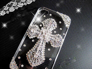 Silver Cross Clear Gems Bling Rhinestones Case Cover For Various Mobile Phone