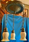 Bronze patina brass hanging chain fixture with 3 Steuben pulled feather shades