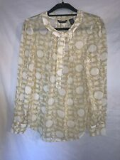 New York & Company Women's Size 10 Sheer long sleeve top with chain print