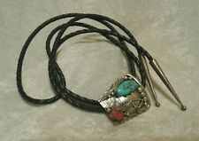 Vintage Zuni Ornate Sterling Silver Turquoise & Red Stone Bolo Tie Black Leather