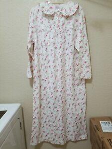 NWT VTG Bernette Sz L Cotton Flannel Long Nightgown Pink Mini Floral Collar