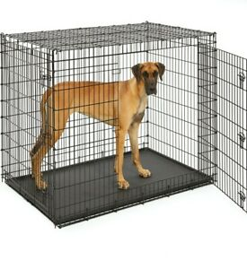 """Midwest SL54DD Ginormus Double Door Dog Crate + Pan 54"""" Extra Large 90 lb+ Dog"""