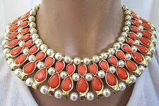 Stunning Egyptian Revival Coral Colored Faux Pearl Bead Collar Necklace