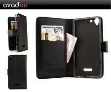 Avadoo ® Wiko selfy 4g Flip Case Cover Custodia in Pelle Nero Guscio come
