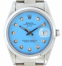Mens Rolex Date Stainless Steel Watch 34mm Oyster Band Blue Diamond Dial 15200