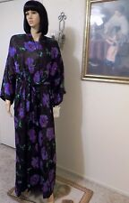 "LUCIE ANN ""RARE"" vtg NWT ROYAL BLACK & PURPLE FLORAL PEIGNOIR SET size L large"