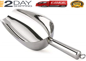 Stainless Steel Ice Scoop 12oz, Medium Metal Food Scoops for Kitchen Party Bar W