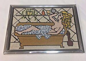 Vintage Completed Nude Woman Bathing Needlepoint Art VTG Bathroom Embroidery