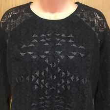 Ladies Superdry Size Small Black Jumper Top Lace Silver Glitter Triangles Lined