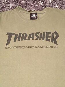 Thrasher Skateboard Magazine Shirt Size Large Olive Green